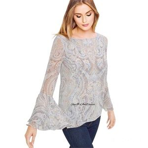 White House Black Market layered bell sleeve top